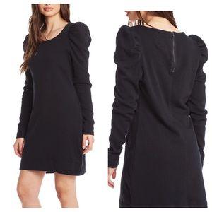 Cotton Fleece Puff Long Sleeve Zip Back Mini Dress